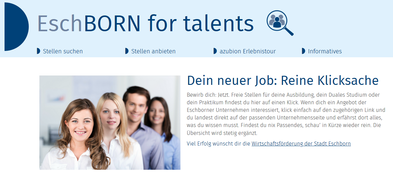 Flyer zur Ausbildungsplattform Eschborn for talents.